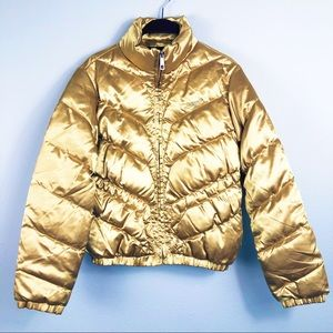 Eckored Yellow Gold Puffer Bomber Jacket, Med